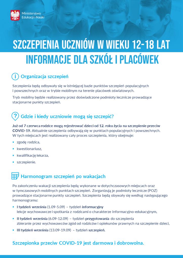 Szczepienie uczniów w wieku 12 - 18 lat informacje dla szkół i placówek
